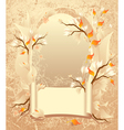 Autumn frame with a scroll on grunge background vector image vector image