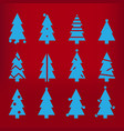blue silhouette christmas trees stylized simple vector image vector image