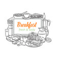 breakfast layout outline vector image vector image
