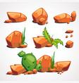 cartoon set desert stones with plants vector image vector image