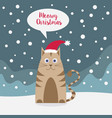 cat wearing santa hat in snowy landscape vector image