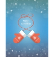 Christmas card with mittens vector image vector image