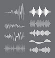 collection white music wave on grey background vector image