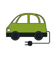 color image electric car icon with connector vector image
