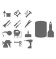 construction worker equipment silhouette house vector image vector image