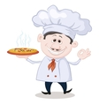 Cook holds a hot pizza vector image