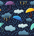 cute rainy clouds and umbrellas on dark blue sky vector image