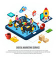 digital marketing isometric flowchart vector image vector image
