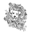 drawing doodle of dog head with animals flower vector image vector image