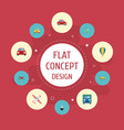 flat icons boat aircraft jeep and other vector image vector image