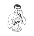flat muscular handsome boxer man icon vector image vector image