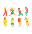 flat set of funny plus size women cartoon vector image