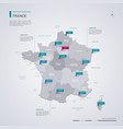 france map with infographic elements pointer marks vector image