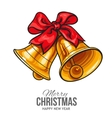 Golden bells with a red bow Christmas greeting vector image