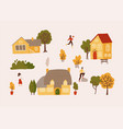 hand drawn village with houses trees and vector image vector image