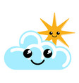 happy cute sun and cloud weather icon vector image