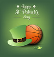 happy st patricks day and basketball ball vector image vector image