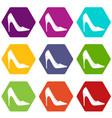 high heel shoe icon set color hexahedron vector image vector image