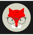 Hipster emblem with fox in glasses vector image