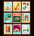 india travel stamp cards vector image