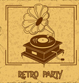 Invitation to retro party with gramophone vector image
