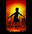jumping boy on background of the cityscape vector image