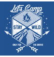 lets camp - camping - stay wild vector image