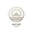 logo sunny mountain river vector image vector image