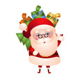 old santa claus is carrying a bag of gifts vector image