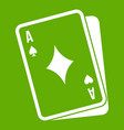 playing card icon green vector image