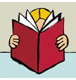 reading big red book vector image vector image