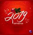 red happy new year poster 2019 vector image vector image