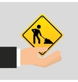 road sign under construction design icon vector image vector image