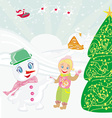 santa claus sweet snowman and smiling little girl vector image vector image