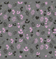 seamless floral pattern with plant silhouettes vector image