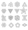 set impossible shapes optical illusion vector image vector image