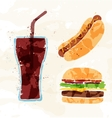 Set of fast food multicolored watercolor vector image vector image