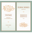 Set of invitation with a bouquet of golden flowers vector image vector image