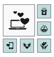 set of love icons simple romance elements vector image vector image