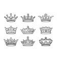 set stylized images crowns icons vector image