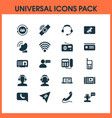 telecommunication icons set with tablet connection vector image