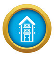 two-storey house with balconies icon blue vector image vector image