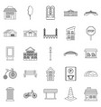 urban architecture icons set outline style vector image