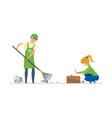 volunteers engaged in cleaning of garbage vector image