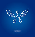 w letter monogram wings logo vector image vector image