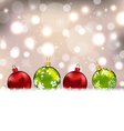 winter cute postcard with colorful glass balls - vector image vector image