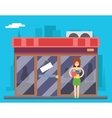 Woman Turns out Overstock Store sale in Characters vector image vector image