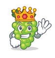 king green grapes mascot cartoon vector image