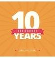 10 year anniversary card vector image