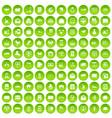 100 postal service icons set green circle vector image